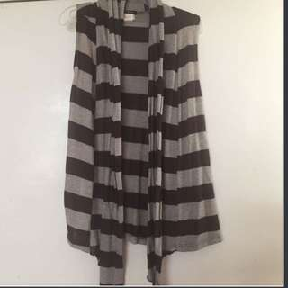 Striped Sleeveless Cardigan