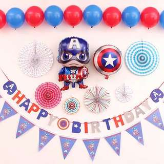 Captain America theme birthday balloons and banners