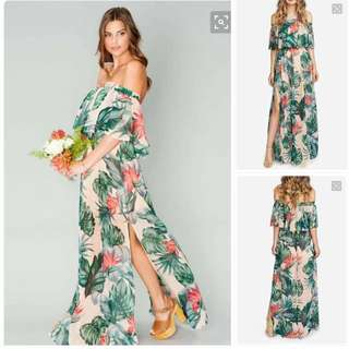 maxi off shoulder dress with slit *RESTOCK*