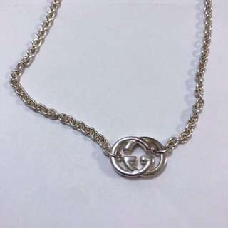 Gucci 銀頸鏈 silver necklace with Gucci pendant