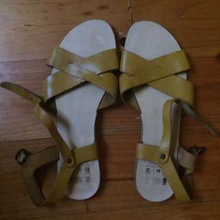 Mustard Leather Sandals