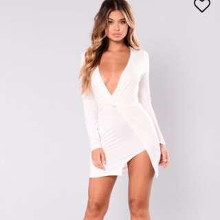 Fashion Nova white slit dress