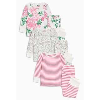 Pink Floral Snuggle Pyjamas 3 Pack