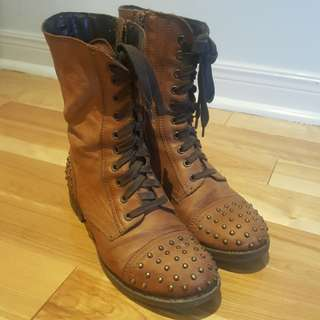 Studded Combat-Style Boots