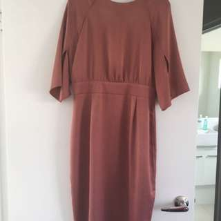 Asos satin blush pink knee length dress