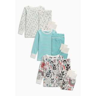 Teal/Ecru Printed Snuggle Pyjamas 3 Pack