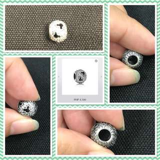Disney Abstract pave silver charm with cubic zirconia and cut-out Mickey silhouette