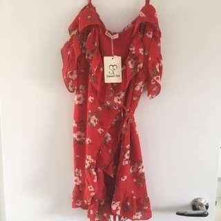 Red cold shoulder wrap dress