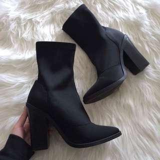 LIPSTIK Black Sock Boots