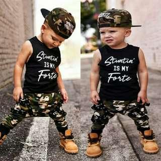 Baby Boy Casual Sleeveless Top+Camouflage Pants 2pcs Set