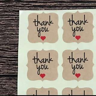 (Free Postage) 60 Kraft stickers - Thank you stickers - Thank you labels