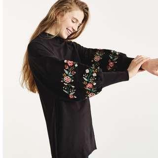 美式酷黑顯瘦修身女裝花卉工藝刺繡袖縮口長袖上衣