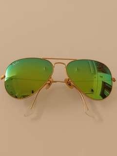 Rayban 綠色反光鏡太陽眼鏡,100%全新,連盒,將軍澳沿線交收