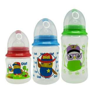 *FREE DELIVERY to WM only / Ready stock* 3units Didi & friends baby bottle set (5,7,12oz) BPA free as shown design/color. Free delivery is applied for this item.