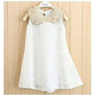 Girl's White Lace Dress 8-9yo