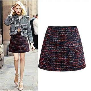 韓國新款彩色格子短裙