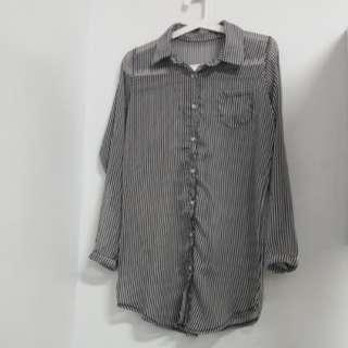 🚚 [百元出清] 黑白條紋 雪紡紗襯衫式長版上衣