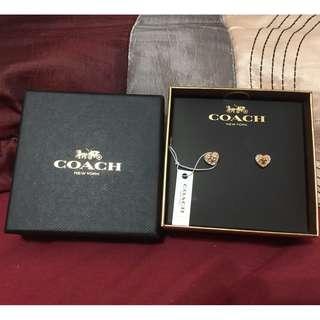 Coach MINI 18K GOLD PLATED PADLOCK HEART STUD EARRINGS