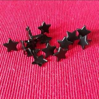 12pcs Black Star Shape Embellishment