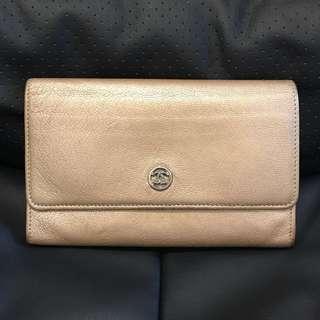 Chanel 香檳金色薄銀包wallet