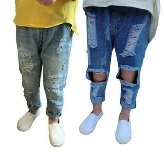 Girls Tattered Ripped Jeans