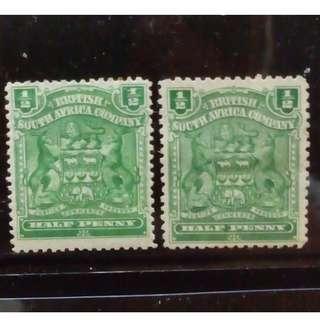 [lapyip1230] 英屬南非公司(羅德西亞) 1896年 皇室徽紋 半便士 (不同刷色) 新票一對 Mint