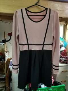 Pink and Black Long Sleeved Dress (Free Size)