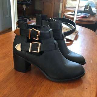 Scrappy Cutout Boots with Gold Buckle Detail