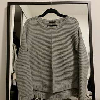 GREY RIBBED SWEATER (STRUCTURED)