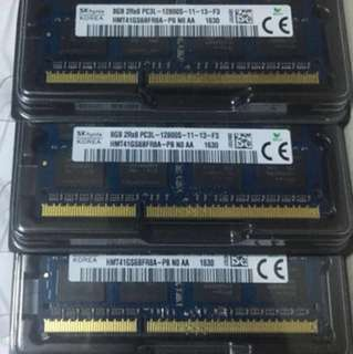 8GB 2RX8 DDR3 1600MHz PC3L 12800S RAM $400 for 6 pieces