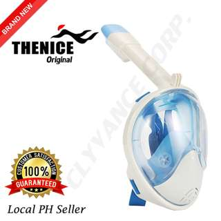 Thenice Version 2 Full Face Snorkel Mask L/XLarge (White-Blue)