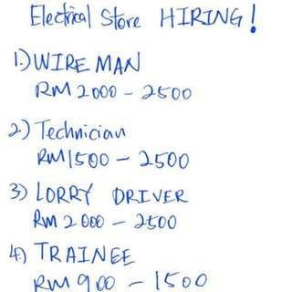 Electrical store in Kepong is hiring