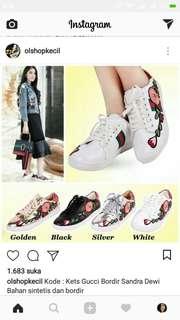 Sepatu Kets Gucci Bordir Cantik Sandra Dewi (replika yaa)