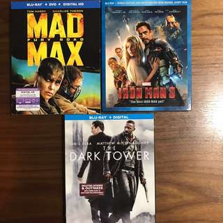 Mad max , iron man 3, dark tower, Kunfu yoga , vampire cleanup department