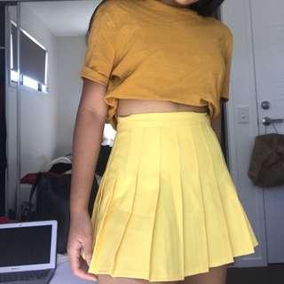 American apparel yellow skirt