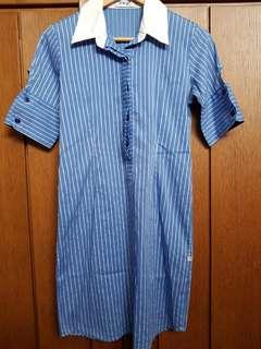 Meg blue striped collared dress