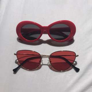 Red cobain and cat eye sunnies