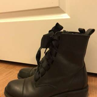 B.P Black Combat Boots with Silk Laces - Size 6