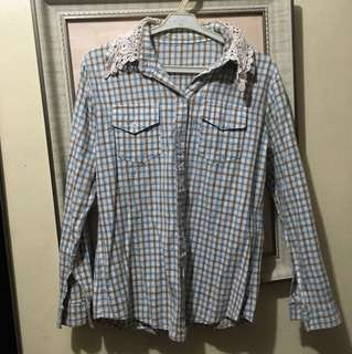 Blue Brown Checkered Long Sleeves