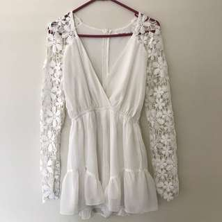 White lace playsuit size 6