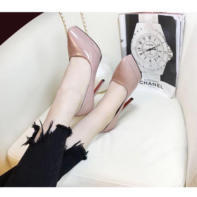 12公分防水台裸色優雅高跟鞋適合拍婚紗