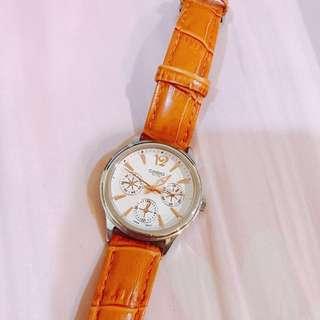 Casio 手錶 三眼錶面 附贈盒子 顏色美麗 氣質優雅 送人自用都可 #九成新