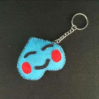 Blue Felt Happy Face Keychain
