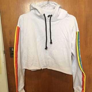ASOS cropped rainbow sleeve hoodie (new)