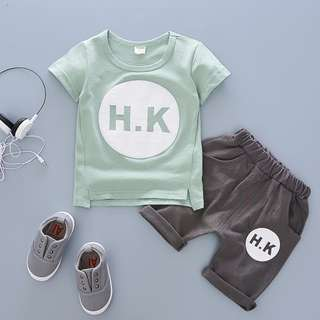 kids boys toddler T-shirt + pants 2 pieces set H.K print