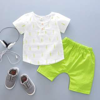 kids boys toddler linen maple print shirt + pants 2 pieces set