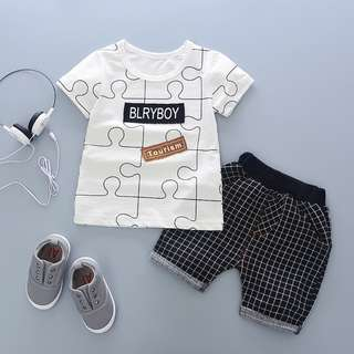 kid boys toddler t-shirt + checkered pants 2 pieces set