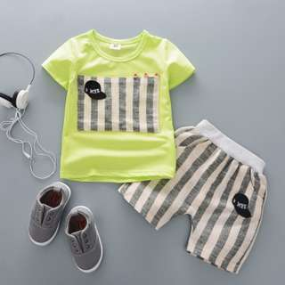 kid boys toddler little cap detail t-shirt + stripy pants 2 pieces set