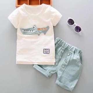 kid boys toddler crocodile detail t-shirt + short pants 2 pieces set wear