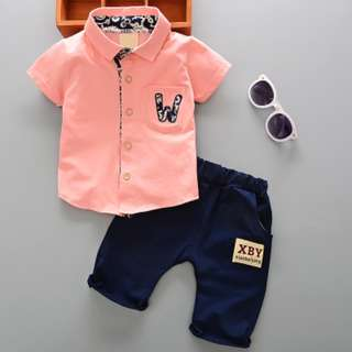 kids boy toddler Shirt + pants 2 pieces set W alphabet details